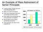 an example of mass retirement of senior principals