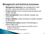 management and technical processes