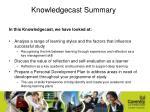 knowledgecast summary