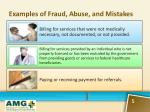 examples of fraud abuse and mistakes