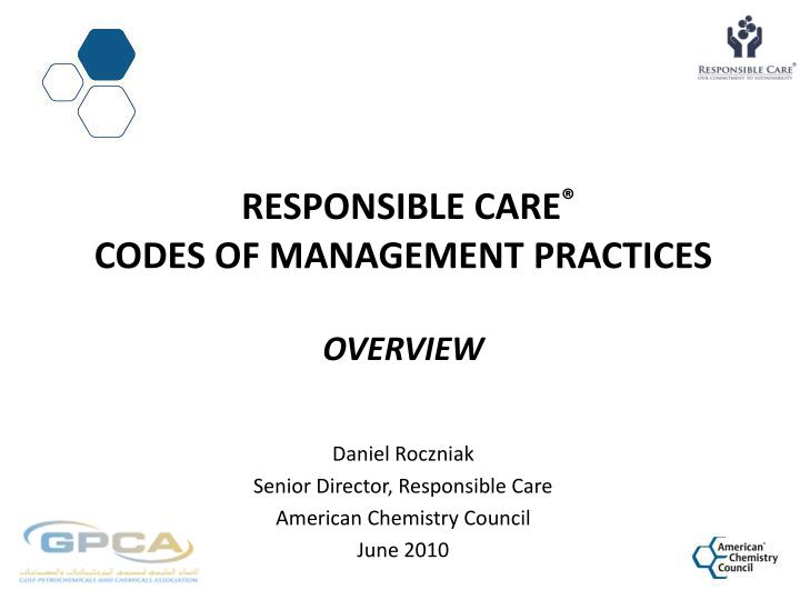 responsible care codes of management practices overview n.