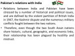 pakistan s relations with india