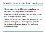 business coaching in tourism