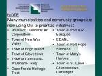 note many municipalities and community groups are now using om to prioritize initiatives