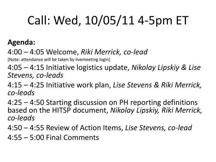 call wed 10 05 11 4 5pm et n.