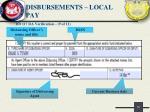 disbursements local pay8