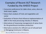 examples of recent aut research funded by the aheed project