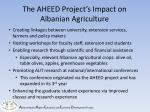 the aheed project s impact on albanian agriculture