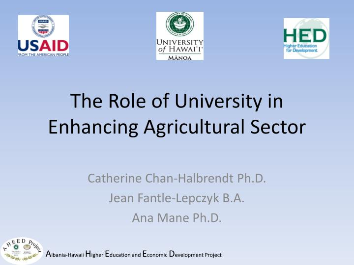 the role of university in enhancing agricultural sector n.