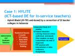 case 1 hylite ict based de for in service teachers