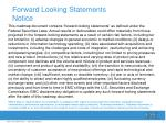 forward looking statements notice