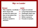 mgr vs leader