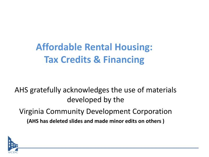 affordable rental housing tax credits financing n.