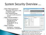 system security overview cont