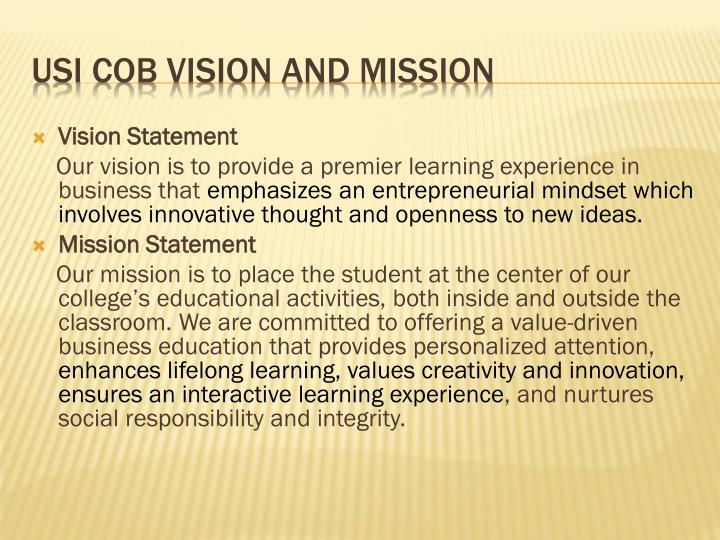 usi cob vision and mission n.