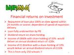 financial returns on investment