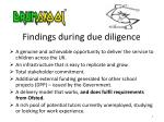 findings during due diligence
