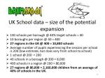 uk school data size of the potential expansion