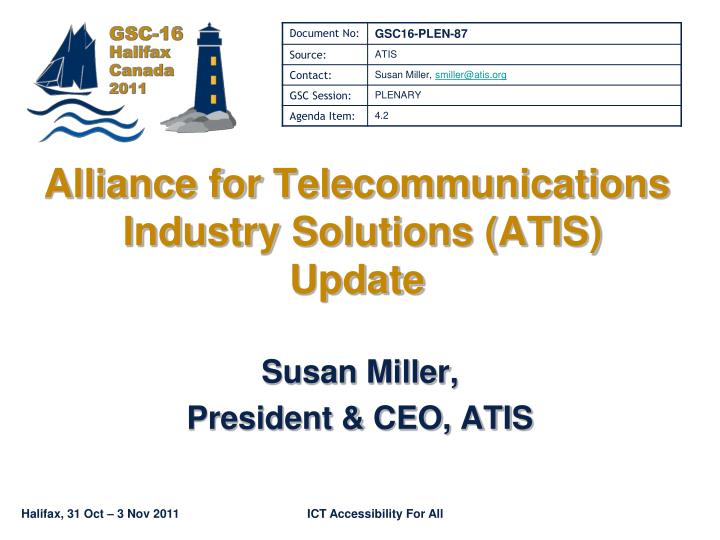 alliance for telecommunications industry solutions atis update n.