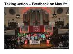 taking action feedback on may 2 nd