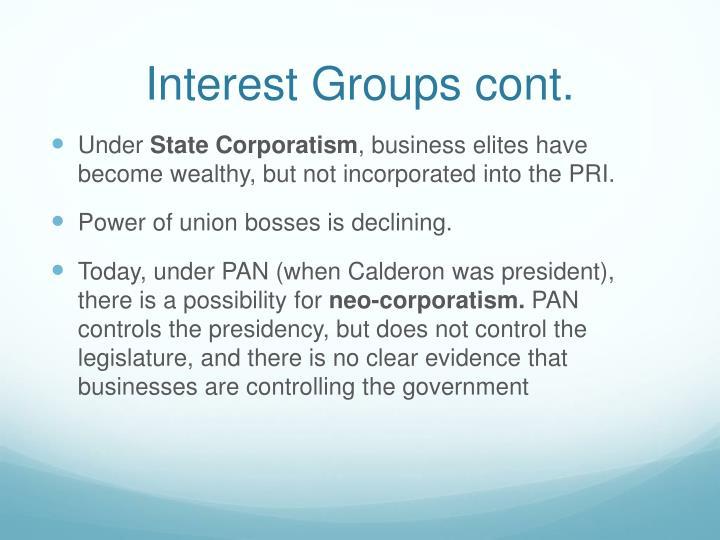 Interest Groups cont.