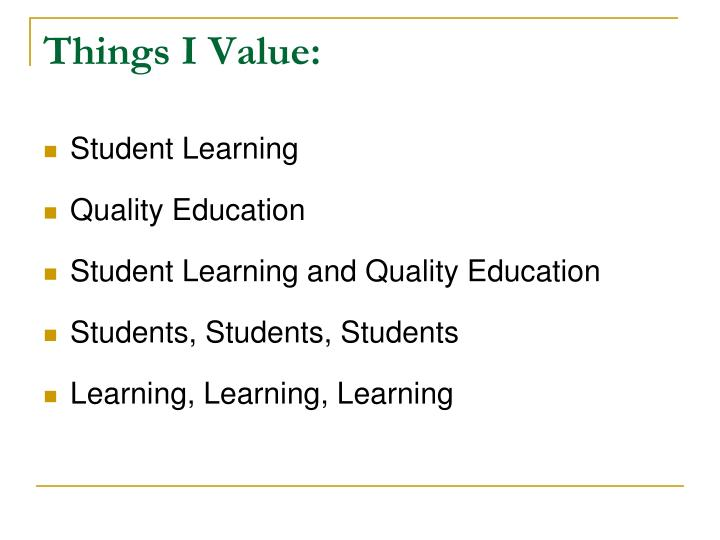 Things I Value: