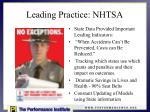 leading practice nhtsa