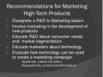 recommendations for marketing high tech products