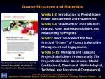 course structure and materials