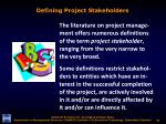 defining project stakeholders