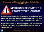 managing and engaging project stakeholders beware