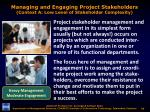 managing and engaging project stakeholders context a low level of stakeholder complexity