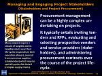 managing and engaging project stakeholders stakeholders and project procurement