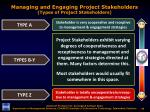 managing and engaging project stakeholders types of project stakeholders