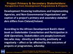 project primary secondary stakeholders perspective from development programmes projects