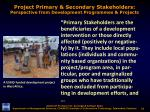project primary secondary stakeholders perspective from development programmes projects1