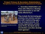 project primary secondary stakeholders perspective from development programmes projects2