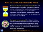rules for course participants the dont s3