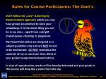rules for course participants the dont s4