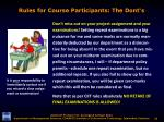 rules for course participants the dont s5