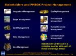 stakeholders and pmbok project management