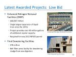 latest awarded projects low bid