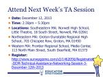 attend next week s ta session