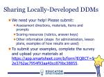 sharing locally developed ddms