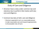 duty of care and diligence