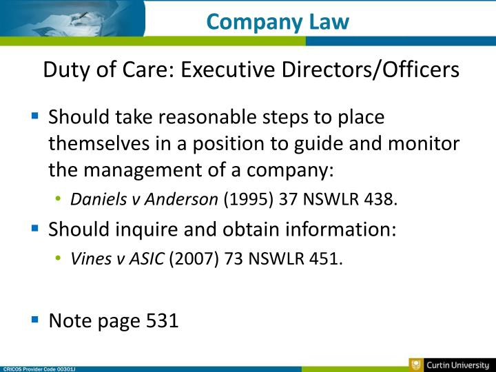 company directors duties The duties and responsibilities of a company director are set out in the companies act 2006, the articles of association and any service contract that is put in place between a director and the firm the companies act 2006 outlines a statutory regime for directors' duties, which consists of seven principle requirements.