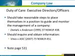 duty of care executive directors officers