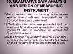 10 qualitative data analysis and design of measuring instrument