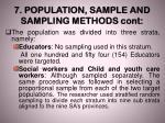7 population sample and sampling methods cont