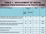 table 1 involvement of social service professionals in youth work